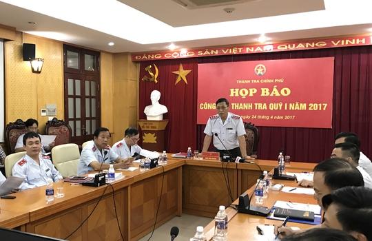 Ông Ngô Văn Khánh, Phó Tổng Thanh tra Chính phủ, trả lời báo chí về những vụ việc nổi cộm trong thời gian qua tại cuộc họp báo vào ngày 24-4