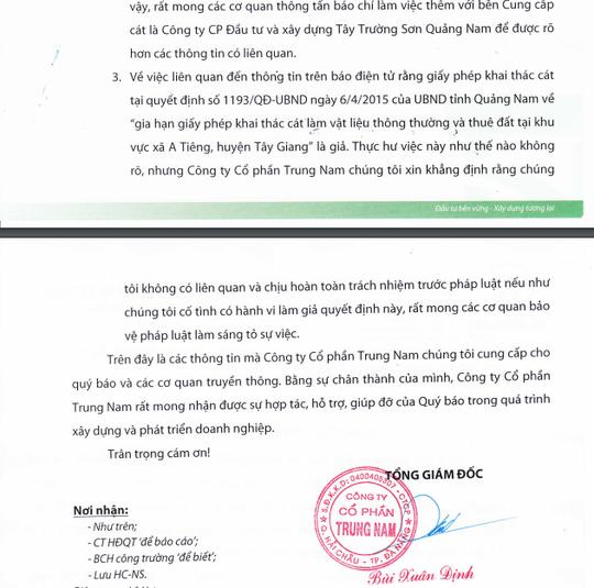Thông cáo báo chỉ của Công ty CP Trung Nam