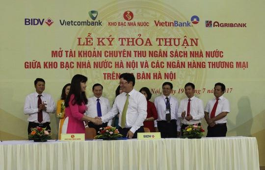 BIDV và Kho bạc Nhà nước ký kết Thỏa thuận phối hợp thu Ngân sách Nhà nước tại Hà Nội - Ảnh 1.