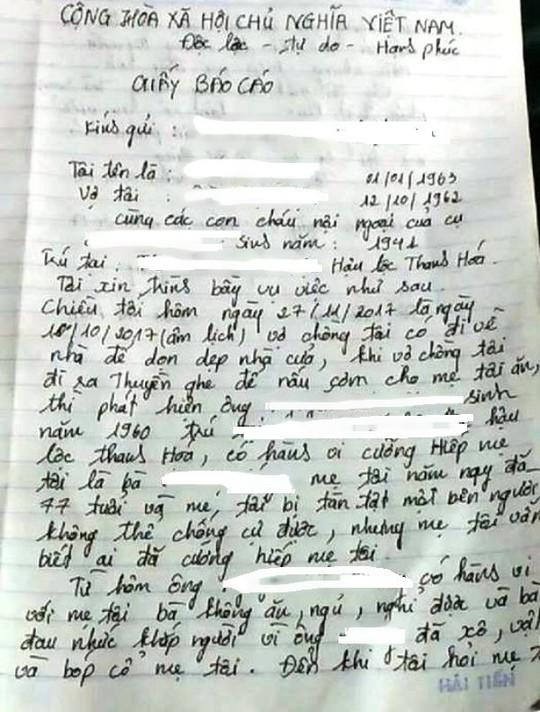 Nghi án cụ bà 78 tuổi bị cháu họ giở trò đồi bại - Ảnh 2.