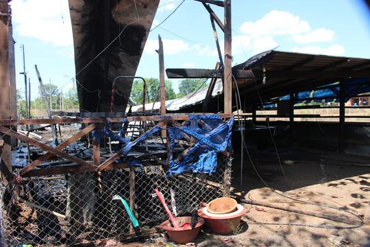 Căn nhà bị cháy đã được dập tắt