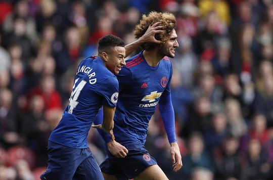 Bộ đôi Fellaini và Lingard lập công, góp phần giúp M.U thắng Middlesbrough 3-1Ảnh: Reuters