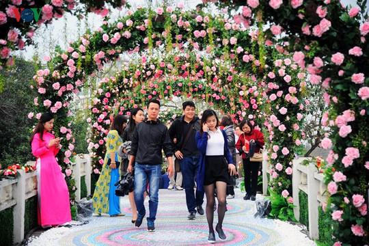 """Sáng nay, 3-3, tại công viên Thống nhất (Hà Nội) đã diễn ra """"Lễ hội hoa hồng Bulgaria và Bạn bè"""" lần đầu tiên tại Việt Nam. Lễ hội thu hút sự quan tâm của đông đảo người dân Thủ đô."""