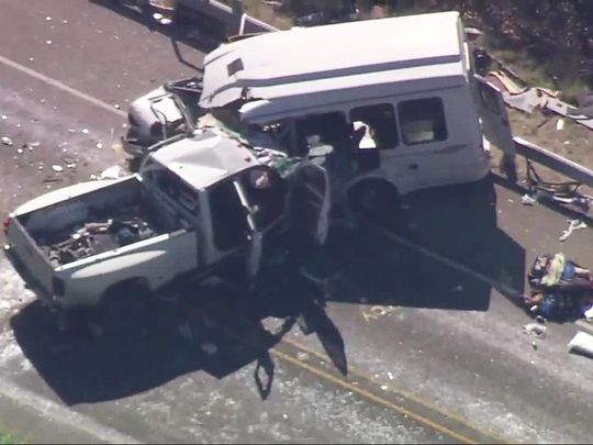 Hiện trường vụ tai nạn ở khu Concan, bang Texas - Mỹ. Ảnh: KSAT