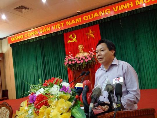 Trưởng Ban Tuyên giáo Thành ủy Hà Nội, ông Nguyễn Văn Phong phát biểu tại buổi họp giao ban