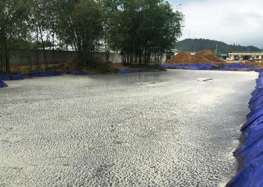 Một ao chứa chất thải mới được đào thêm của Công ty Tuấn Vinh