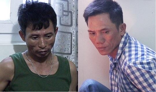 Hai đối tượng Ngọc (áo thun xanh) và Giang bị bắt giữ tại cơ quan công an.