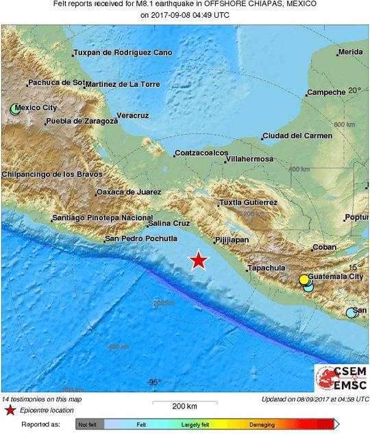 Động đất cấp độ 8 gần Mexico, cảnh báo sóng thần 8 nước - Ảnh 1.