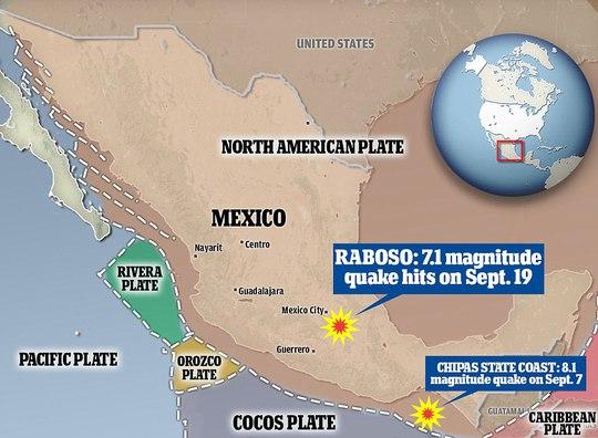 2 trận động đất ngày 7-9 và 19-9 có liên quan tới nhau? Ảnh: Daily Mail