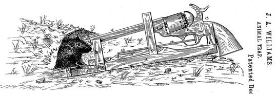 Bẫy chuột lắp súng lục của James A.Williams phát minh ở Mỹ vào năm 1882. Nguồn: bigthink.com