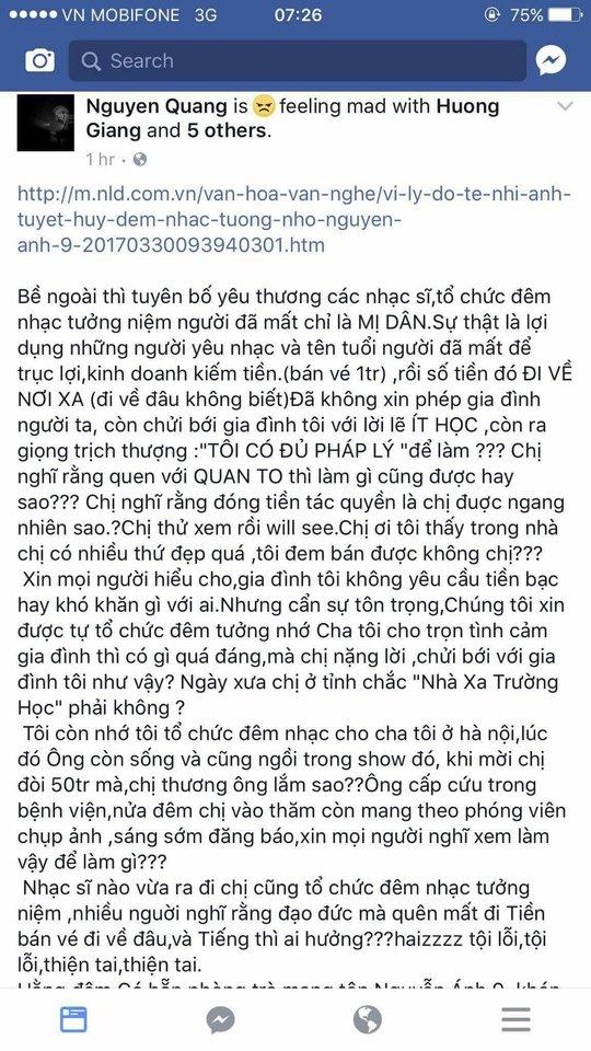 Nguyên văn tin nhắn trên trang facebook của nhạc sĩ Nguyễn Quang