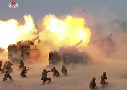 KCNA khẳng định ông Kim rất hài lòng vì binh sĩ luôn công kích chính xác mục tiêu. Ảnh: The Sun