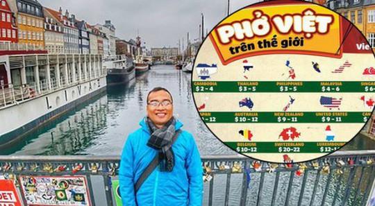 Thầy giáo Việt đi du lịch, lập bản đồ giá phở ở 43 nước - Ảnh 1.