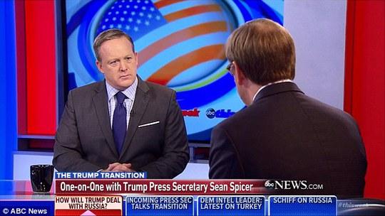 """Ông Sean Spicer tham gia chương trình """"This Week"""" của đài ABC. Ảnh: ABC News"""