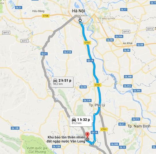 Giao thông từ Hà Nội đến đầm Vân Long rất thuận lợi, dễ đi. Ảnh: Chụp màn hình.