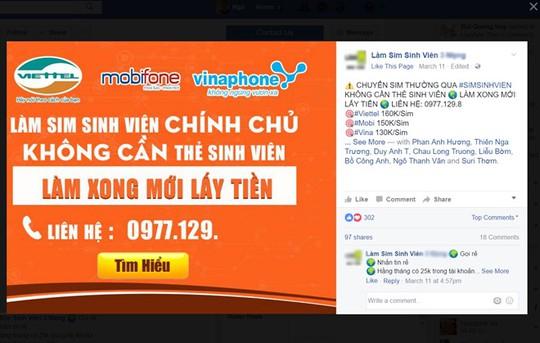 Quảng cáo chuyển đổi SIM thường sang SIM sinh viên rất phổ biến trên mạng xã hội. Ảnh: chụp màn hình Facebook Làm Sim sinh viên *****.