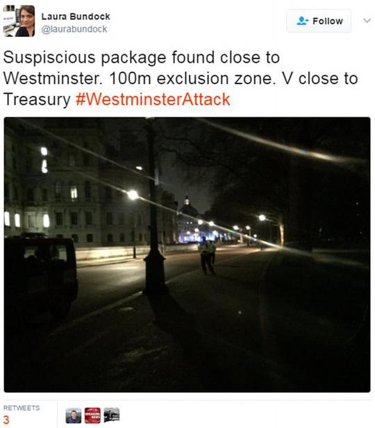 Phóng viên Laura Bundock của Sky News viết trên Twitter rằng có một tiếng nổ rất lớn gần hàng rào an ninh, nơi phát hiện gói đồ đáng ngờ. Ảnh: TWITTER