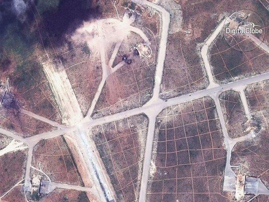 Lầu Năm Góc công bố hình ảnh vệ sân bay Shayrat gần thành phố Homs sau vụ tấn công của Mỹ
