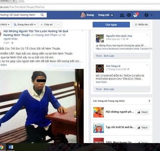 Người phụ nữ được mạng xã hội cho là đối tượng bắt cóc trẻ em, đã gây hoang mang dư luận ở Ninh Thuận