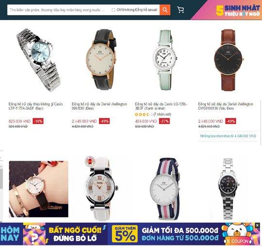 """""""Thị trường đồng hồ ở website mua sắm trực tuyến Lazada luôn rất đa dạng về kiểu dáng và mức giá"""