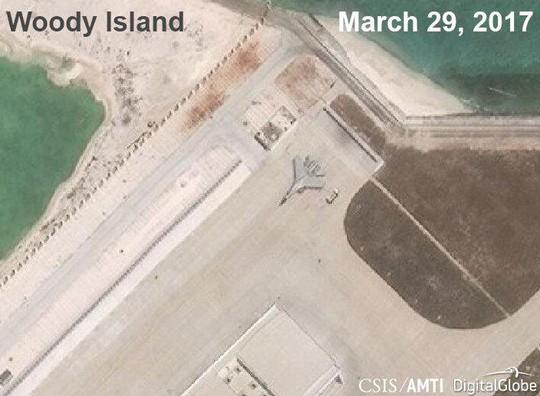 Ảnh vệ tinh chụp đảo Phú Lâm, quần đảo Hoàng Sa, ngày 29-3. Ảnh: AMTI/AMTI