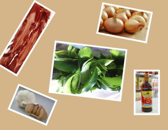 Nguyên liệu chính chế biến món thịt heo chiên lá mác mật