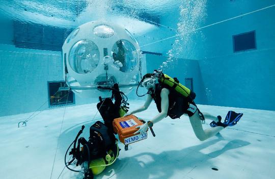 Thực khách thích thú với nhà hàng dưới đáy bể bơi - Ảnh 1.