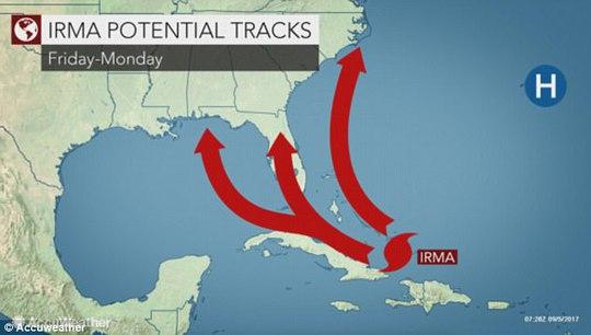 Siêu bão Irma lên cấp 5, hướng về Mỹ - Ảnh 1.
