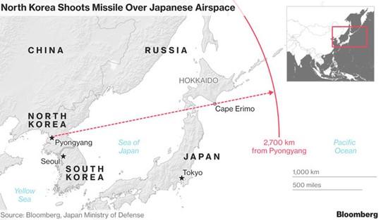Đường đi của tên lửa mới phóng của Triều Tiên. Ảnh: Bloomberg