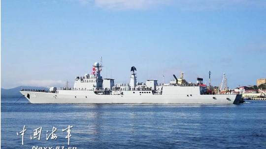 Tàu Hải quân Trung Quốc đến căn cứ hạm đội Thái Bình Dương của Nga ở cảng Vladivostok hôm 18-9. Ảnh: Navy.81.cn