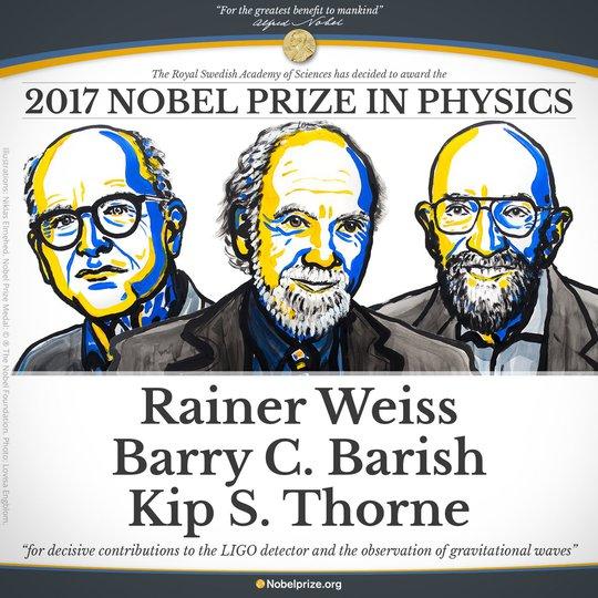 Nobel Vật lý 2017 tôn vinh khám phá đầu tiên về sóng hấp dẫn - Ảnh 1.