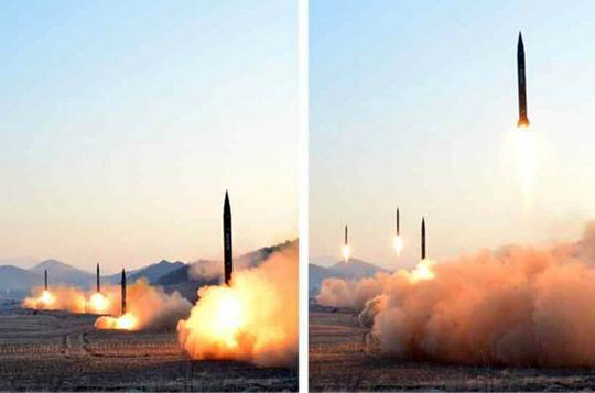 Vụ thử nghiệm tên lửa đạn đạo hôm 6-3 Ảnh: RODONG SINMUN