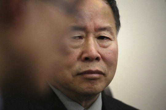 Thứ trưởng Ngoại giao Triều Tiên Han Song-ryol tại cuộc phỏng vấn của hãng tin AP ngày 14-4 Ảnh: AP