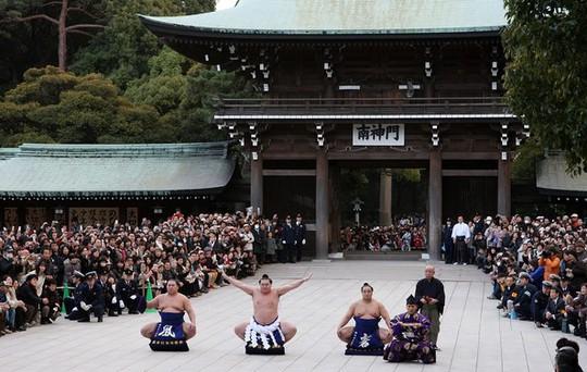 Giải đấu vật truyền thống đầu năm được tổ chức tại đền Thiên Hoàng Minh Trị ở Tokyo. Ảnh: Zimbio.