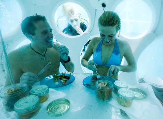 Thực khách thích thú với nhà hàng dưới đáy bể bơi - Ảnh 6.