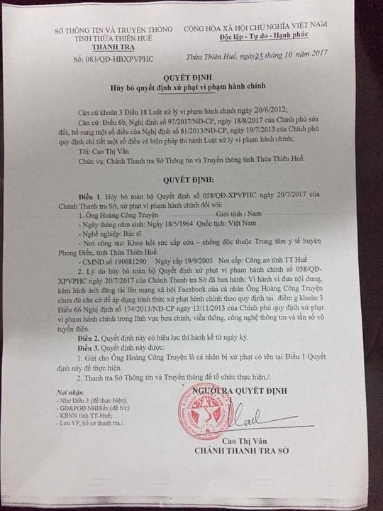 Sẽ xem xét trách nhiệm người ký quyết định xử phạt BS Truyện - Ảnh 2.