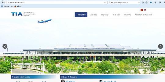Trang web của sân bay Tân Sơn Nhất đã hoạt động bình thường trở lại - Ảnh chụp màn hình