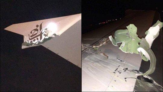 Cánh máy bay hư hỏng sau va chạm. Ảnh: Facebook