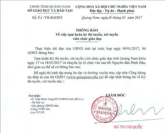 Văn bản thông báo của Sở GD-ĐT tỉnh Quảng Nam
