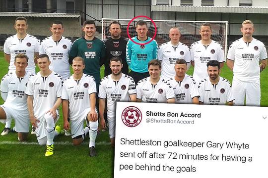 Thủ môn Garry Whyte của CLB Shettleston đã bị truất quyền thi đấu vì tiểu tiện sau khung thành. Ảnh: The Sun