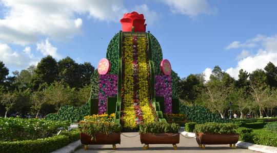 Khách cũng không quên ghé ngang Công viên Sa Đéc để ngắm thác hoa sắp lập kỷ lục Việt Nam.