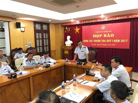 Ông Ngô Văn Khánh, Phó Tổng TTCP, chủ trì họp báo sáng 24-4