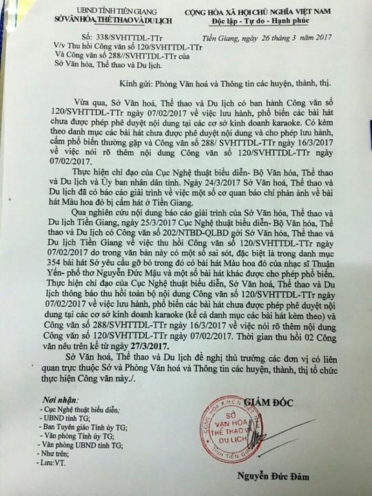 Công văn thu hồi công văn 120 trước đó của Sở VH-TT-DL tỉnh Tiền Giang