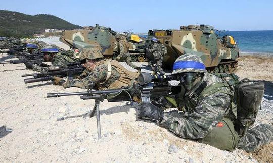 Các cuộc tập trận Mỹ - Hàn thường niên luôn vấp phải sự chỉ trích của Triều Tiên Ảnh: AP