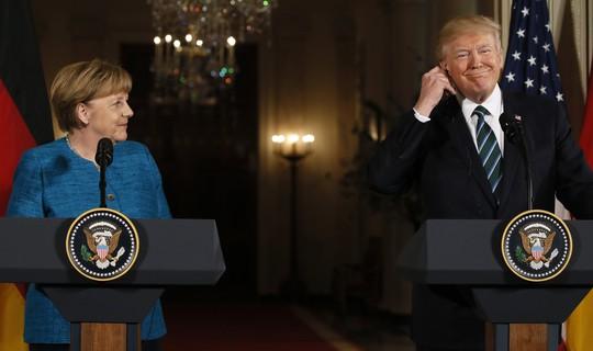 Tổng thống Trump và bà Merkel trong cuộc họp báo chung. Ảnh: Reuters
