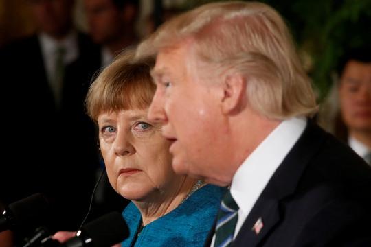 Tổng thống Mỹ Donald Trump và Thủ tướng Đức Angela Merkel tại cuộc họp báo chung ngày 17-3.Ảnh: REUTERS