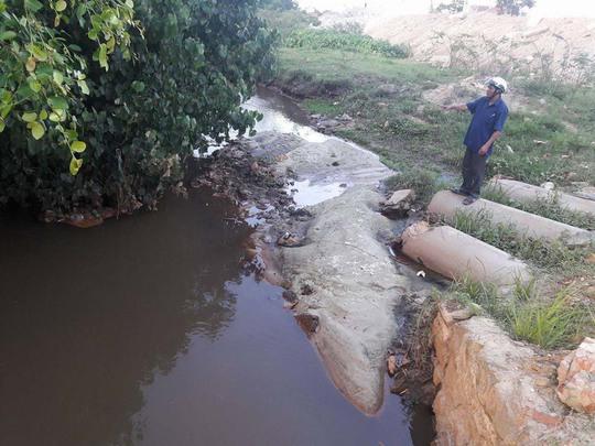 Nước thải trong KCN Hòa Khánh đổ thẳng ra mương gây ô nhiễm môi trường