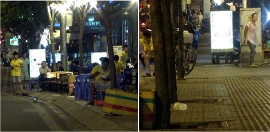 Quáng Nhi Hai Cô lấn chiếm vỉa hè (ảnh bên trái) và sau khi báo NLĐ phản ánh đã tạm thời trả lại vỉa hè.