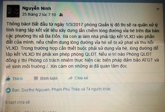 """Ông Nguyễn Văn Ninh đăng đàn Facebook để bà con """"tự xử"""" vỉa hè rất được người dân đồng tình ủng hộ"""
