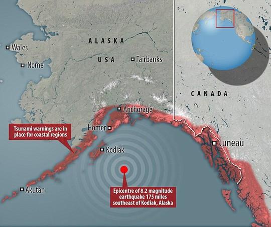 Mỹ cảnh báo sóng thần vì động đất cường độ 8,2 - Ảnh 1.